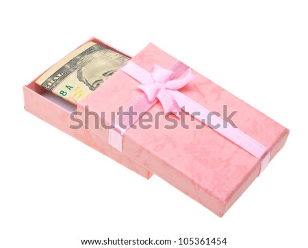Beautiful pink gift with money anknotes isolated on white background