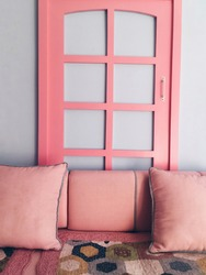 Beautiful pink interior in blue cafe