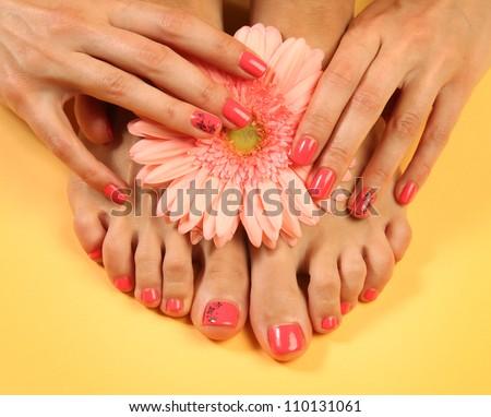 Beautiful pink manicure and pedicure