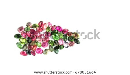 Beautiful pink red green tourmaline,gemstone,isolated on white