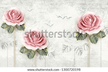 Beautiful pink rose flowers on decorative texture background 3d wallpaper