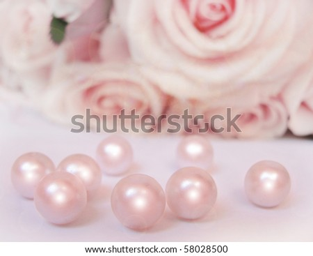 Beautiful pink rose with pearls