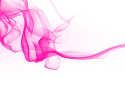 Beautiful pink smoke abstract on white background. ink water color for design