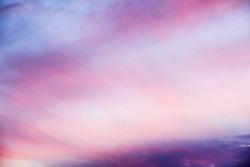 Beautiful pink sunset, very airy clouds, heaven like.
