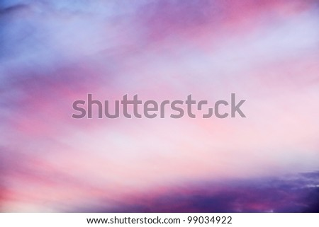 Beautiful pink sunset, very airy clouds, heaven like. - stock photo