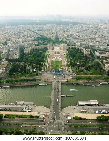 Beautiful places of Paris city - Jardins du Trocadero. France.