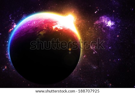 Beautiful Planet at Sunrise - Elements of this Image Furnished By NASA