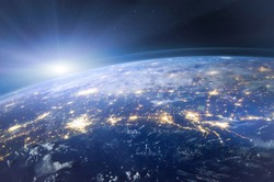 beautiful planet Earth seen from space, aerial view of night lights,  original image furnished by NASA