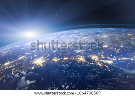 beautiful planet Earth seen from space, aerial view of night lights,  original image furnished by NASA #1064700509