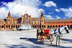 beautiful Plaza de Espana, Sevilla, Andalusia, Spain