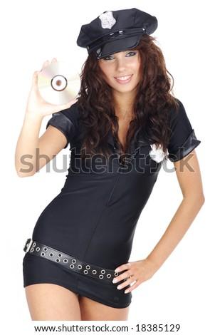 Marvelous Beautiful Police Girl Holding CD