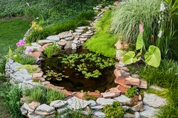 Beautiful pond in a backyard surrounded with stone during summer