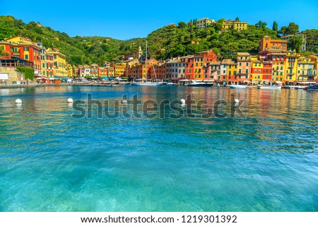 Beautiful Portofino cityscape, best touristic Mediterranean place with typical colorful buildings and famous luxury harbor, Portofino, Liguria, Cinque Terre, Italy, Europe #1219301392