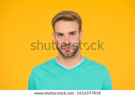 Beautiful portrait. Male beauty. Barber hairdresser salon. Beauty routine and self care. Handsome man. Handsome man face could representing timeless handsome macho. Well groomed guy nice hairstyle.