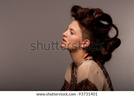 beautiful portrait of a beautiful girl - stock photo