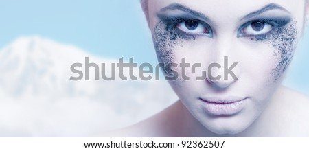 beautiful portrait of a girl. Creative winter makeup
