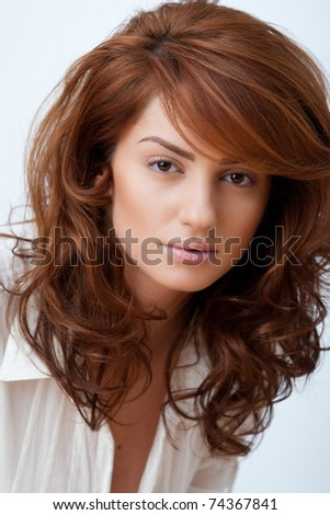 beautiful portrait of a young red hair woman
