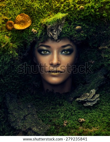 beautiful portrait of fairy tail in the morning time with mushrooms, beauty portrait