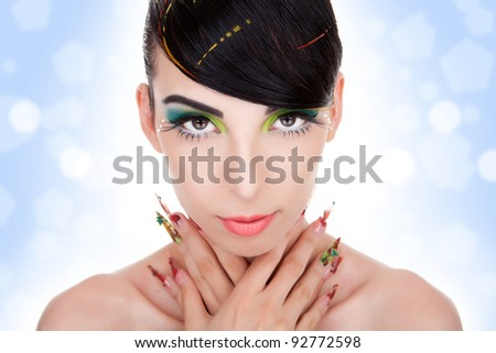 Beautiful  portrait of fashion woman model with glamour  makeup,  fancy nails