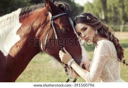 Beautiful Portrait Of Woman With Horse