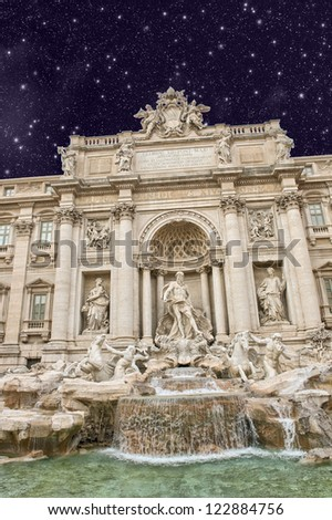 Beautiful portrait view of Trevi Fountain in Rome.