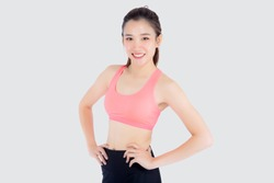 Beautiful portrait young asian woman in sport clothes with satisfied and confident isolated on white background, asia girl cheerful have shape and wellness, exercise for fit with health concept.