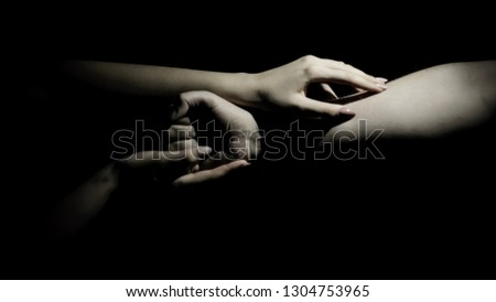 beautiful poses of male and female hands #1304753965