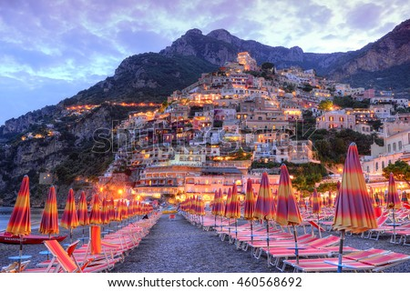 Beautiful Positano, Amalfi coast, Italy surprised at sunset.