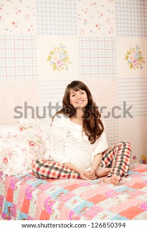 Beautiful pregnant woman in nice room