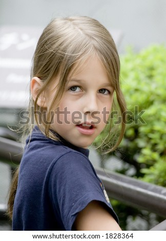 Beautiful preteen girl close-up