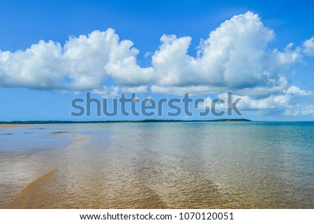 Stock Photo Beautiful  pristine and isolated Portuguese Island beach with turquoise water , Mozambique. Best place to feel relaxed and enjoy the tranquility of nature , green water ,