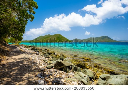 Beautiful pristine Caribbean beach in Saint John in the United States Virgin Islands. #208833550