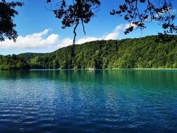 Beautiful pristine turquoise shores of Plitvice Lakes National Park - Croatia