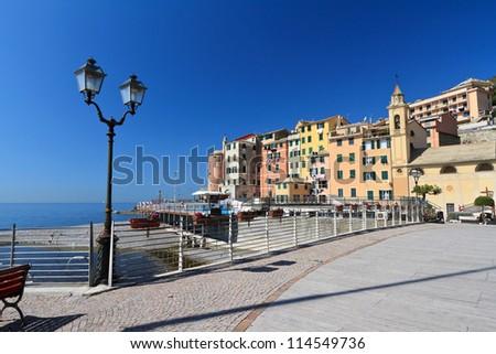 beautiful promenade in Sori, small village in Liguria, Italy