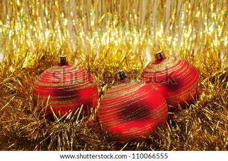 Beautiful purple Christmas ornaments and Christmas gold chain