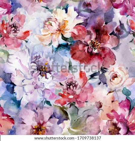Beautiful purple peony flowers with green leaves on background. Seamless floral pattern. Watercolor painting. Hand drawn illustration. Can be used as a design for fabric or wallpaper, bed linen.