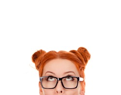 Beautiful puzzled woman in her 30s, looking upwards. Isolated on pure white background. Closeup portrait of a beautiful girl face above nose