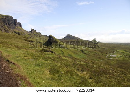 Beautiful Quiraing landscape on the Isle of Skye