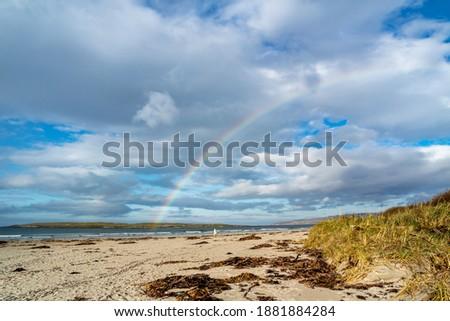 Beautiful rainbow above Narin Strand , Donegal - Ireland. Stok fotoğraf ©