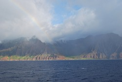 Beautiful Rainbow and Scenic Coastal Mountain Landscape, Hawaii