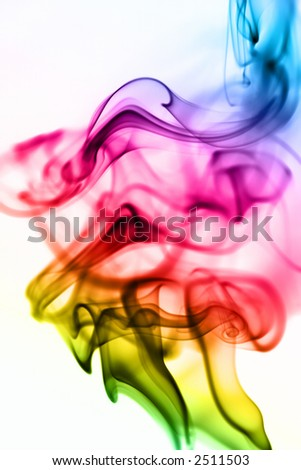 Beautiful rainbow smoke cloud on white