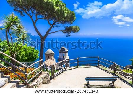 beautiful  Ravello village, view with church. Amalfi coast, Ital