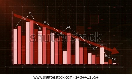 Beautiful red bar graph decreasing.