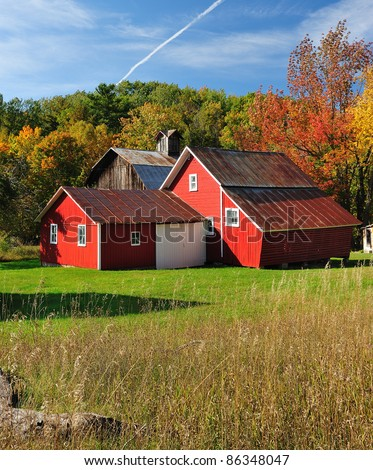 Beautiful  Red Barns in Autumn, Sleeping Bear Dunes National Lakeshore Michigan,USA