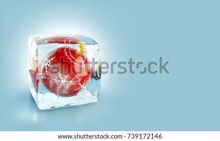 Beautiful red Christmas ball inside ice cube. Unusual 3d illustration. Christmas concept