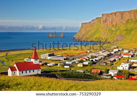 Beautiful Red Church on a Mountain Top at Vik, Iceland. #753290329