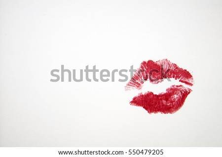 Beautiful Red color lip on white paper, Kiss by Red lip print, Kiss lip with love #550479205