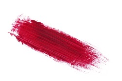 Beautiful red color lipstick brush stroke on background