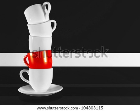 Beautiful red cup on black background