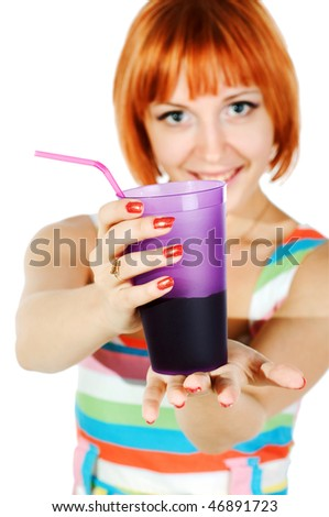 beautiful red girl with glass of soda isolated on white background